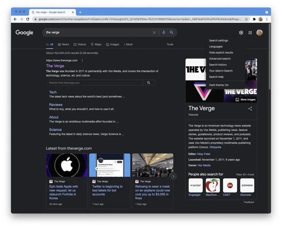 Google Masaüstünde Resmi Olarak Karanlık Moda Geçiyor 1