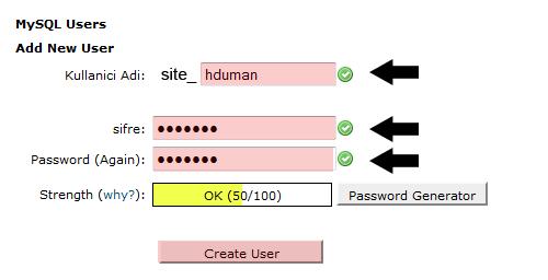 cPanel MySQL Oluşturma 4