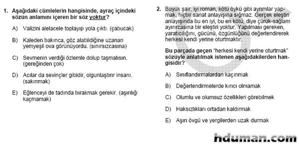 2006 Kpss Önlisans Genel Yetenek Soruları 2